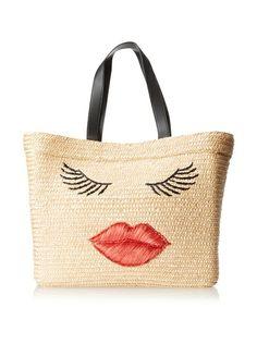 Felix Rey Women's Kissy Face Basket Tote Bag, Natural/Red, http://www.myhabit.com/redirect/ref=qd_sw_dp_pi_li?url=http%3A%2F%2Fwww.myhabit.com%2Fdp%2FB00G93RFNC