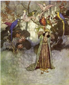 Beauty and the Beast - Edmund Dulac (illustrations for Perrault's Fairy Tales, 1912)
