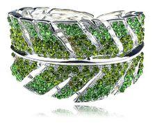 Emerald Green Erinite Crystal Rhinestone Leaf Plant Design Bracelet Bangle Cuff Alilang. $25.99