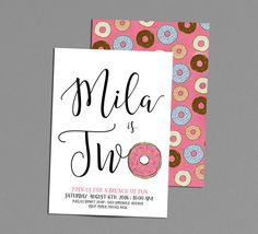 Donut Birthday Invitation, Rise & Shine Its Donut Time, 1st Birthday Brunch Pajama Party Invite, Girl 2nd Bday Printable Pink Sprinkles  Invite