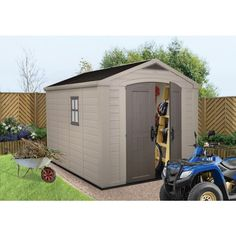 Buy Keter Apex Plastic Beige & Brown Garden Shed - 8 x at Argos. Thousands of products for same day delivery or fast store collection. Garden Storage Shed, Outdoor Storage Sheds, Storage Shed Plans, Keter Sheds, Prefabricated Sheds, Plastic Sheds, Cheap Sheds, Carports, Shed Building Plans