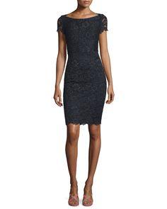 Ainsley Cap-Sleeve Lace Sheath Dress, Black by Diane von Furstenberg at Neiman Marcus.