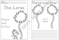 I wish I had this when I first taught cause and effect with this book :) so cute! The Lorax - Cause and Effect Book