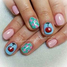Cherry roses pink nails blue nails pinup girl