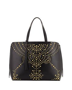 Panama Studded Leather Tote Bag, Black by Rebecca Minkoff at Neiman Marcus.