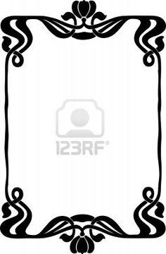 Beautiful decorative floral frame, art nouveau design element Stock Photo