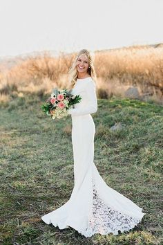 Boho Column Wedding Dress with a Lace Train