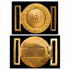 A Magnificent Confederate 24-Karat Gold Plated Virginia Unique Buckle Made by Webb and Bonella of London, England Sic Semper Tyrannis Heavily plated in 24-Karat gold, this extremely rare Confederate buckle bears the striking image of the Roman goddess Virtus standing victorious over a body symbolizing Tyranny, her sword and spear in hand. Surrounded by the Virginia motto of 'Sic Semper Tyrannis', Latin for 'thus always to tyrants', she is a proud reminder of the independence of spirit of all…