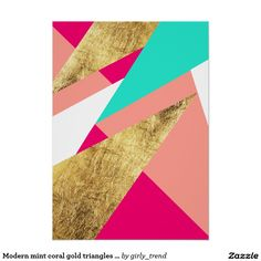 Modern mint coral gold triangles colour block poster