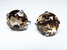 New Listings Daily - Follow Us for UpDates -  Pre Holiday Sale!!! Shop NOW and SAVE! Sterling Silver Citrine Earrings - Smokey Brown Citrine - Screw Back Earrings - Opened Back - Large Modern Faceted Gemstones - Pre 19... #vintage #jewelry #teamlove #etsyretwt #ecochic #thejewelseeker