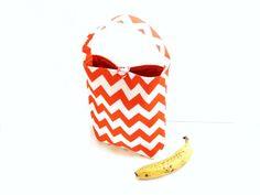 Insulated lunch tote bag orange chevron #tote #lunchbag by NancyEllenStudios