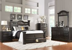 Shop for a Merrifield Ebony 5 Pc King Storage Bedroom at Rooms To Go. Find Bedroom Sets that will look great in your home and complement the rest of your furniture.