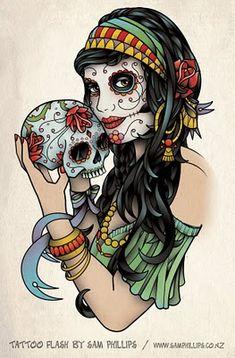 Day of Dead gypsy girl Holding Sugar Skull Tattoo