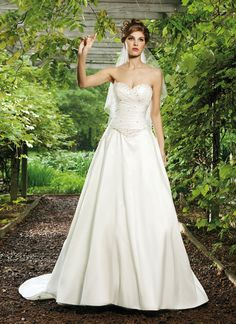 A-line Sweetheart Asymmetrical Pleated Beaded Bodice Basque Waist Taffeta Wedding Dress-wa0349, $267.95