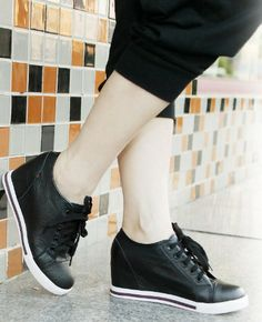 3fb8b2a20f91 Plus Size Euro Women Genuine Leather Height Increasing Platform Wedge  Sneakers New 2015 High Heels Wedges Shoes For Women .