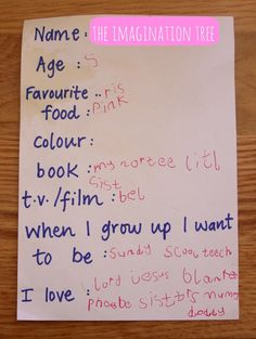 Child's questionnaire for a new year's time capsule