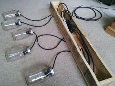 Mason Jar & Rustic Pallet Light Fixture DIY on BinkysNest.com by fannie