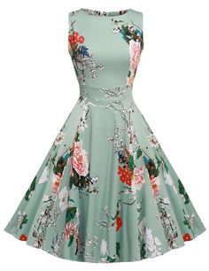 ACEVOG Vintage 1950's Floral Spring Garden Party Picnic Dress Party Cocktail Dress: Amazon Fashion