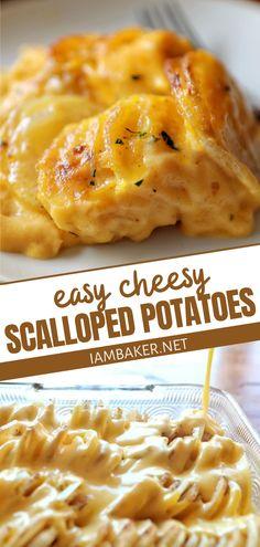 Cheesy Scalloped Potatoes Recipe, Scallop Potatoes, Chessy Potatoes, Easy Cheesy Scalloped Potatoes, Cheesy Potato Bake, Russet Potatoes, Baked Potatoes, Pumpkin Recipes, Thanksgiving