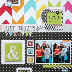 Just Treats Please - Scrapbook.com - Adorable and colorful layout made with Simple Stories DIY collection.