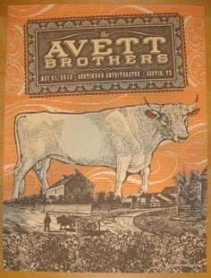 "The Avett Brothers - silkscreen concert poster (click image for more detail) Artist: Status Serigraph Venue: Austin 360 Amphitheater Location: Austin, TX Concert Date: 5/31/2013 Size: 18"" x 24"" Editio"