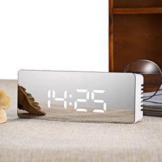 A LED Mirror Clock Digital Display Time Temperature Light-emitting Noiseless Snooze Led Night Light Desktop Table Alarm Clock - Kn Brand Alarm Clock Design, Led Alarm Clock, Digital Alarm Clock, Modern Alarm Clock, Cool Digital Clocks, Digital Table Clock, Digital Mirror, Clock Display, Led Mirror
