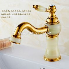 Free Shipping Gold Finish Long Mouth Bathroom Sink Mixer Tap Luxury Marble Handle Marble Body Brass Basin Faucet M-012