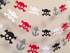 This anyoccasionbanners pirate Garland is a great way to decorate for a birthday! How great is this garland!!! Perfect for your little pirates birthday celebration or simply to hang in his or her room!! This pirate garland is 10 feet long- I made it with red, black and white hand