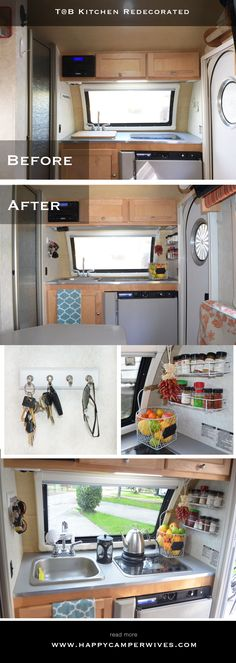 Redecorated and refreshed interior of the Tab teardrop camper trailer. See the rest of the remodel on happycamperwives.com