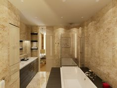 Rich beige soaked bathroom squeezes immense detail in a cozy space. Dark wood surrounds a lengthy tub and comprises the vanity cabinetry, while glass shower stands in corner beside sliding panel to bedroom suite.