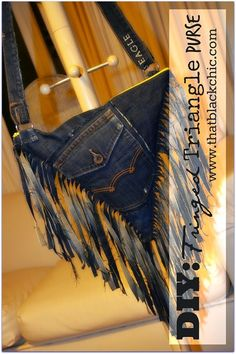 That Black Chic: DIY: Fringed Triangle Denim Crossbody Bag