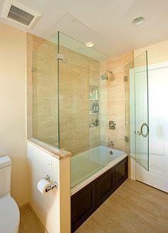 Glass Doors - Jayne Jones master bathroom after remodel, toilet, edina, mn.