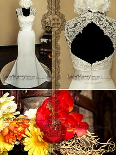 Royal+Flower+Lace+Top+Trumpet+Style+Satin+Wedding+by+LaceMarry,+$284.00