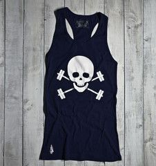 Skull & Barbells Active Tank - Navy/White - Gymdoll - Fitness Fashion and Motivational Workout Clothes for Women