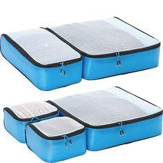 Amazing offer on eBags Hyper-Lite Travel Packing Cubes - Lightweight Organizers - Super Packer Set (Blue) online - Topfashiongoods Packing Tips, Travel Packing, Luggage Packing, Travel Luggage, Ebags Packing Cubes, Checked Luggage, Travel Organization, Turquoise, New Travel