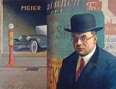 Self Portrait in front of an Advertising Column (1926) by Georg Scholz (German 1890-1945) – Staatliche Kunsthalle, Karlsruhe