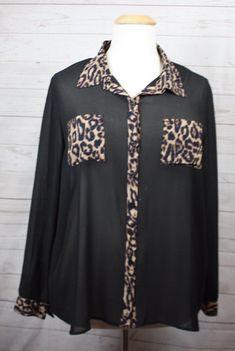 Torrid Black Sheer Long Sleeve Polyester Animal Print Accent Blouse Size 2X #Torrid #Blouse #Versatile