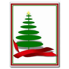 #Christmas Tree with Red Ribbon Postcards by #i_Love_Xmas #gravityx9
