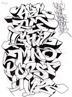 2005 Sketches Graffiti Alphabet Letter A-Z By Mr.POEM in Paper