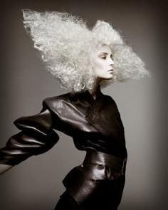 avant garde | fantasy / hair | fashion | editorial | leather | black and white | curls | bob | angular | trendy | blonde