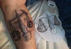 libra-tattoo-design-for-men-on-calf ~ http://heledis.com/popularity-of-libra-tattoo-design/