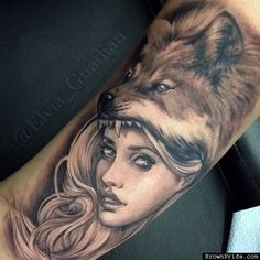 Girl / Wolf Tattoo by Elvia Guadian