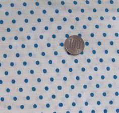 vintage feedsack fabric  BLUE DOTS on WHITE by NauvooQuiltCo, $3.50