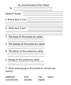 This file contains research pages for an animal research project.  It's a good culminating activity for an animal unit.  Also included are a parent...