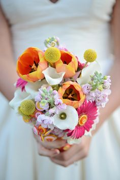spring wedding bouquet http://www.weddingchicks.com/2013/08/20/button-wedding-inspiration/