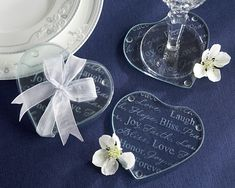 Simple glass heart shaped coasters, wrapped in ribbon.
