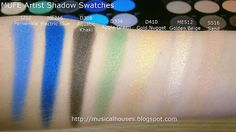 MUFE Artist Shadow Eyeshadow Swatches 1 Row 5: I212 Periwinkle;  ME216 Electric Blue;  D308 Aquatic Khaki;  D334 Apple Green;  D410 Gold Nugget;  ME512 Golden Beige;  S516 Sand