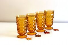 Vintage Amber Whitehall Geometric Pedestal Glasses Indiana Glass Co.