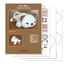 Cute Kitty softie cat sewing pattern PDF by DIYFluffies on Etsy