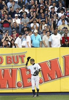 GAME 99: Friday, July 27, 2012 - New York Yankees' Ichiro Suzuki acknowledges the crowd during the first inning of the baseball game against the Boston Red Sox at Yankee Stadium in New York.